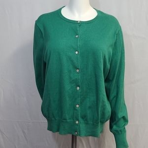 Lands' End Green Soft Wool Cardigan XL